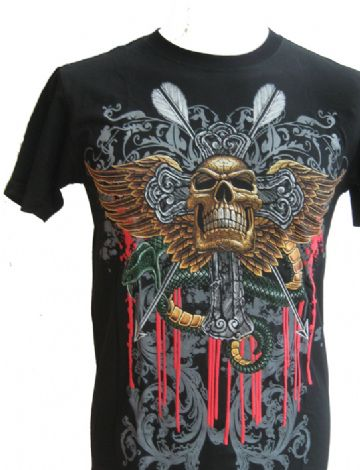 The Winged Skull T Shirt With Large Colour Back Print